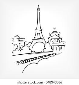 France. Paris. Eiffel tower. Vector line drawing sketch