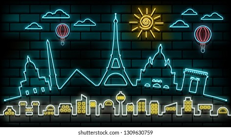 France and Paris Travel And Journey neon light background. Vector Design Template.used for your advertisement, book, banner, template, travel business or presentation.
