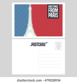 France, Paris vector postcard design with Eiffel tower and French national flag. Double side illustration, element, nonstandard post card with blank copyspace, stamp and Greetings from Paris sign