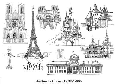 France. Paris. Vector sketch town. Hand drawn public and religious buildings (disneyland, Eiffel Tower, Notre-Dame de Paris, Ecole Militaire, Reims Cathedral ), lettering.