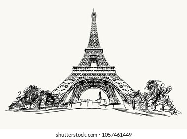 France Paris vector.Hand drawn illustration of Paris. Eiffel Tower, Notre Dame Cathedral, Simple sketch style. Black contour isolated on white background. Vector illustration.