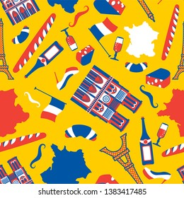 France pattern seamless. National French symbol background. Eiffel Tower and Notre Dame de Paris. Baguette and wine. Mustache and croissant