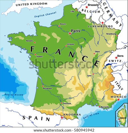 France Physical Vector Map Stock Vector (Royalty Free) 580945942 ...
