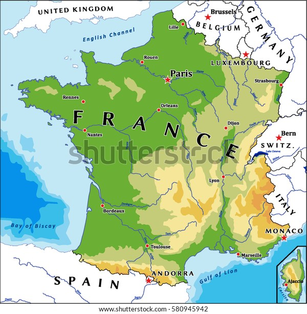 France Physical Vector Map Stock Vector (Royalty Free) 580945942