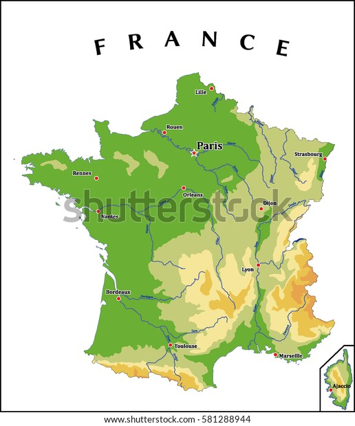 Map Of France Physical.France Physical Vector Map Stock Vector Royalty Free 581288944