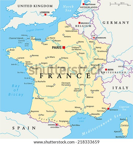 Cities Of France Map.France Political Map Capital Paris National Stock Vector Royalty