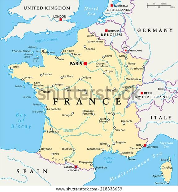Frankrig Politisk Kort Med Hovedstaden Paris Lagervektor