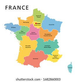 France, political map with multicolored regions of Metropolitan France. French Republic, capital Paris, administrative regions and prefectures on the mainland of Europe. English. Illustration. Vector.