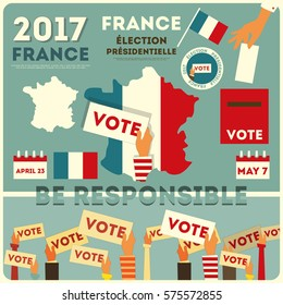 France Presidential Election Voting. Vector Illustration.