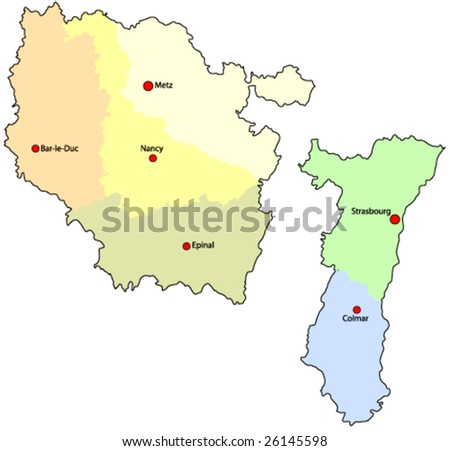 France Regions Alsace Lorraine Vector Map Stock Vector Royalty Free