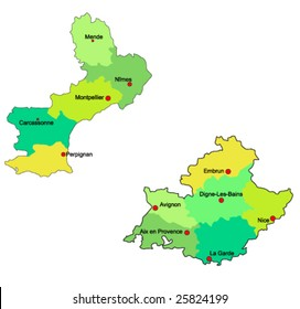 France regions :  Languedoc-Rousillon  and PACA  vector maps