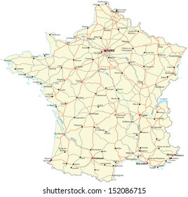 Detailed Road Map Of France.France Road Map Stock Illustrations Images Vectors Shutterstock