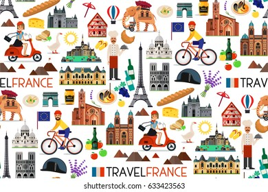 France Seamless Pattern. France Travel Icons. Vector Illustration.