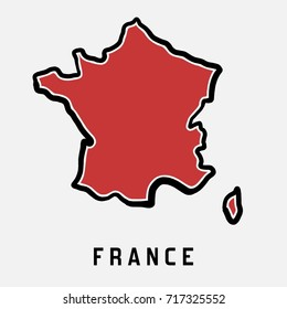 France simple map outline - simplified country shape map vector.