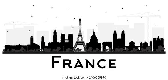 France Skyline Silhouette with Black Buildings Isolated on White. Vector Illustration. Concept with Historic Architecture. France Cityscape with Landmarks. Toulouse. Paris. Lyon. Marseille.