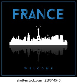 France skyline silhouette vector design on black background.