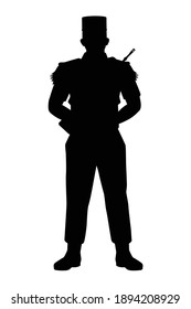 France soldier with weapon silhouette vector, military man in the battle.