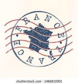 France Stamp Postal. Map Silhouette Seal. Passport Round Design. Vector Icon. Design Retro Travel.