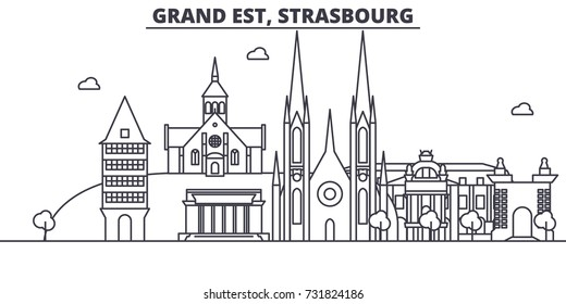France, Strasbourg architecture line skyline illustration. Linear vector cityscape with famous landmarks, city sights, design icons. Landscape wtih editable strokes