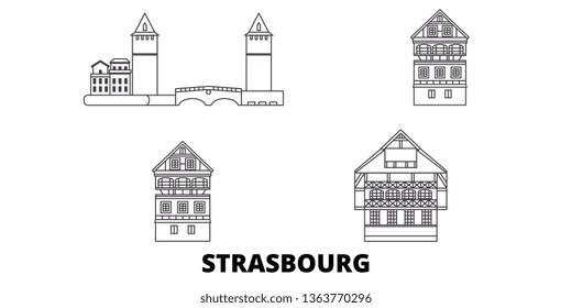 France, Strasbourg City line travel skyline set. France, Strasbourg City outline city vector illustration, symbol, travel sights, landmarks.