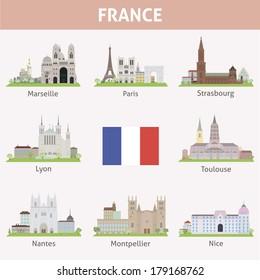 France. Symbols of cities. Vector set