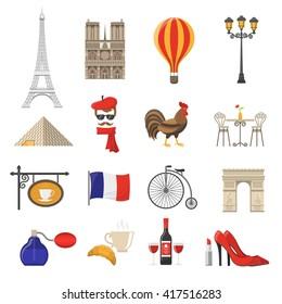 France Symbols and Landmarks Flat Icons Set Isolated Vector Illustration