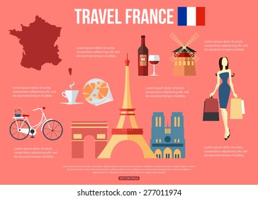 France travel background with symbols. Vector illustration.