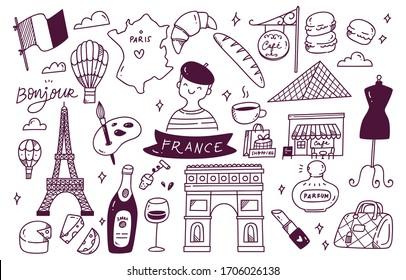 France Travel Destination Doodle Set Vector Illustration