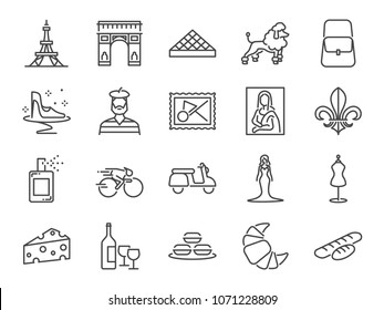 France travel icon set. Included the icons as French toast, landmarks, The Eiffel Tower , baguettes, Paris fashion, Brand name, Poodle dog, attractions and more