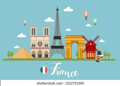 France Travel Landscapes Vector Illustration