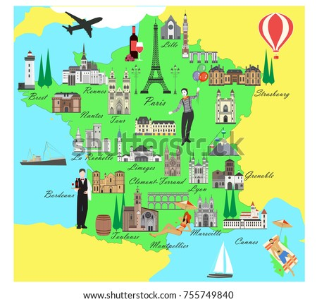 Travel Map Of France.France Travel Map Sights Flat Style Stock Vector Royalty Free