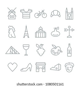 France travel traditional objects symbols icons collection