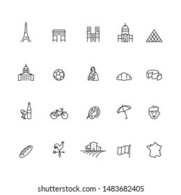 France Travel Vector Line Icon Set