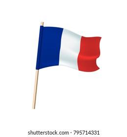 France tricolor (blue, white and red vertical stripes) flag on white background. Vector illustration