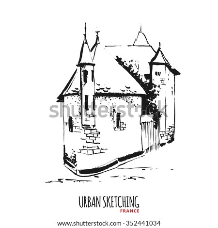 France Urban Sketch Annecy Alps Castle Stock Vector Royalty Free