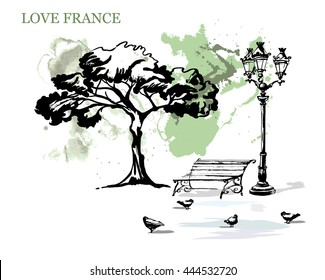 France urban sketch. Paris.Hand drawn vector illustration with a bench and street lights. Freehand line art drawing with ink pen on paper. Vintage banner.