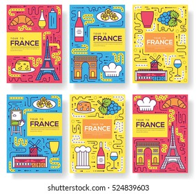 France vector brochure cards thin line set. Country monument, travel template of flyear, magazines, posters, book cover, banners. Layout culture outline illustrations modern pages