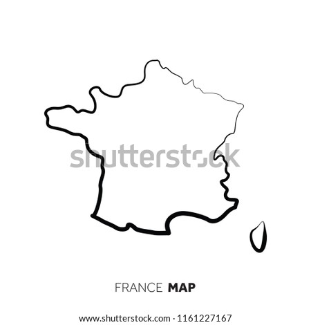 France Vector Country Map Outline Black Stock Vector Royalty Free