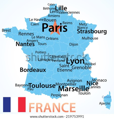 A Map Of France With Cities.France Vector Map Largest Cities Carefully Stock Vector Royalty