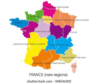 France vector map, new regions