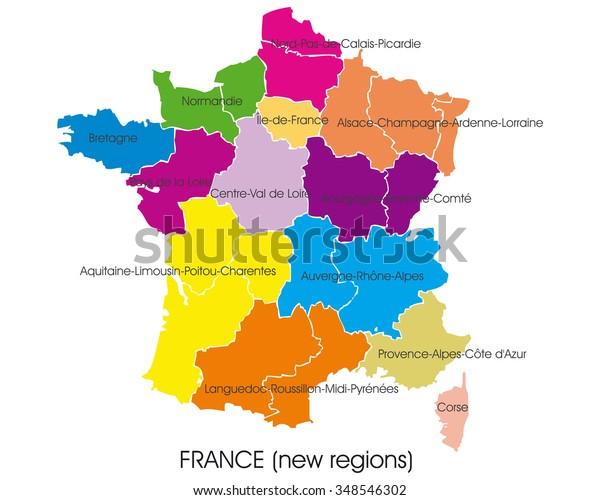 Image Vectorielle De Stock De Carte Vectorielle France Nouvelles Regions 348546302