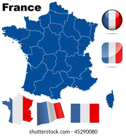 France vector set. Detailed country shape with region borders, flags and icons isolated on white background.