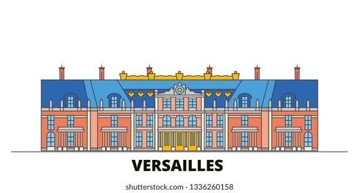 France, Versailles  flat landmarks vector illustration. France, Versailles  line city with famous travel sights, skyline, design.
