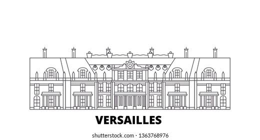 France, Versailles  line travel skyline set. France, Versailles  outline city vector illustration, symbol, travel sights, landmarks.