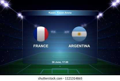 France vs Argentina football scoreboard broadcast graphic soccer template