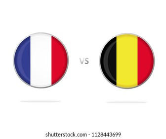 France vs Belgium. Flag in a Circle. Button Vector. White Background. Football Competition.