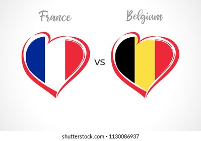 France vs Belgium flags, national team soccer on white background. Franch and Belgian national flag in a heart, button vector.
