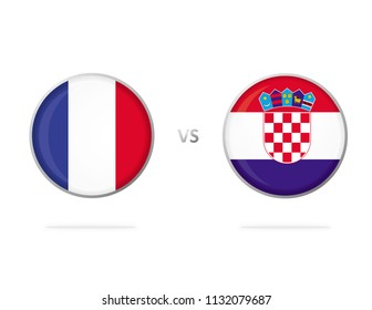 France vs Croatia. Flag in a Circle. Button Vector. White Background. Football Competition.