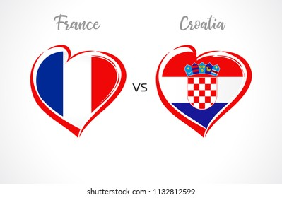 France vs Croatia flags, national team soccer on white background. French and Croatian national flag in a heart, button vector. Football championship of the competition 2018