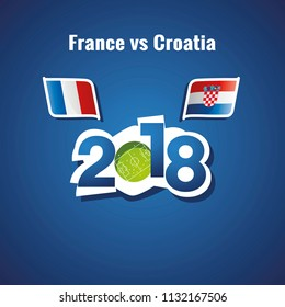 France vs Croatia flags soccer blue background